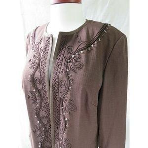 NWT Vintage Beaded Embroidered Stretch Blazer Plus